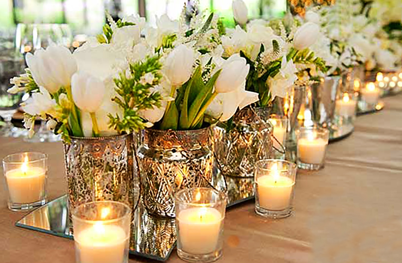Mercury Glass and White Tablescape