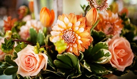 Peach Flowers Tablescape