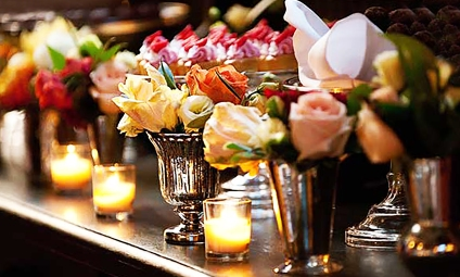 Reception Flowers with Votives