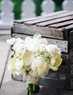 White Bouquet Against Box